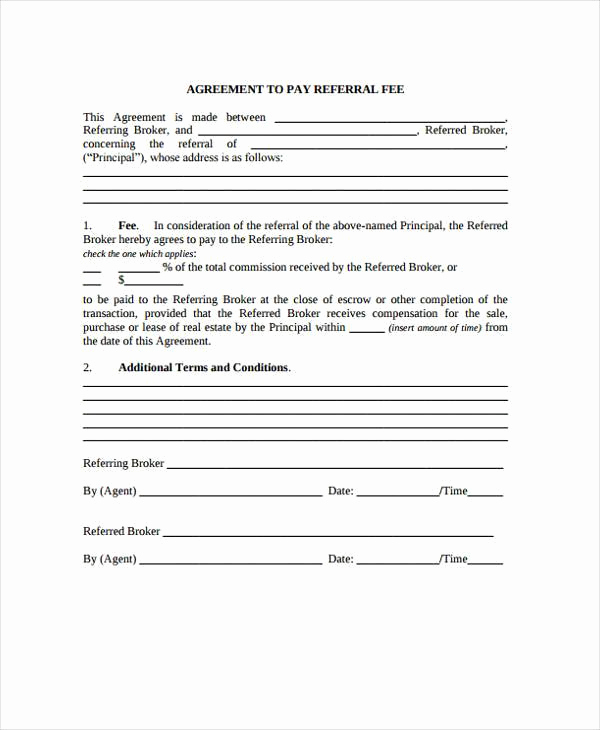 Real Estate Referral form Unique Contract forms In Pdf