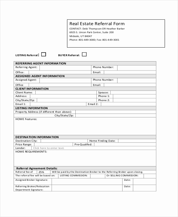 Real Estate Referral form Unique Sample Real Estate form 16 Free Documents In Pdf