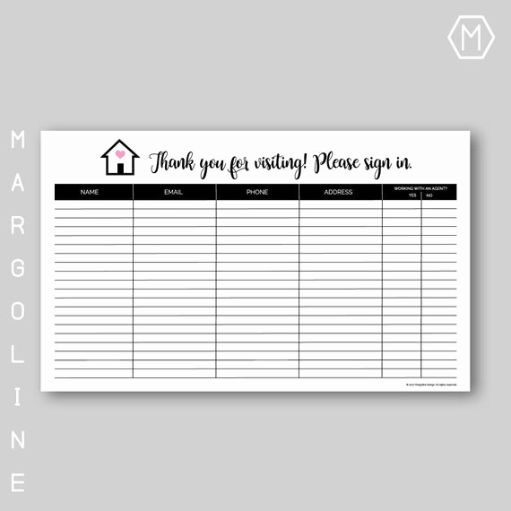 Real Estate Sign In Sheet Awesome Real Estate Open House Sign In Sheet Real Estate Open House