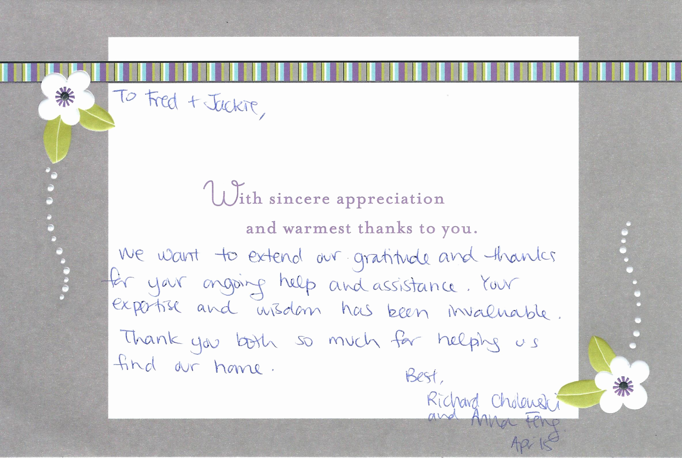 Real Estate Thank You Notes Lovely with sincere Appreciation and Warmest Thanks