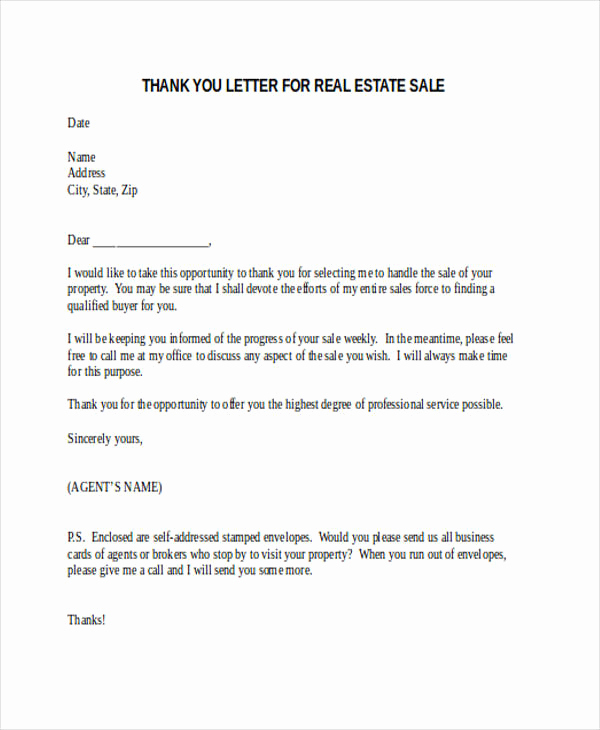 Real Estate Thank You Notes Unique 74 Thank You Letter Examples Doc Pdf