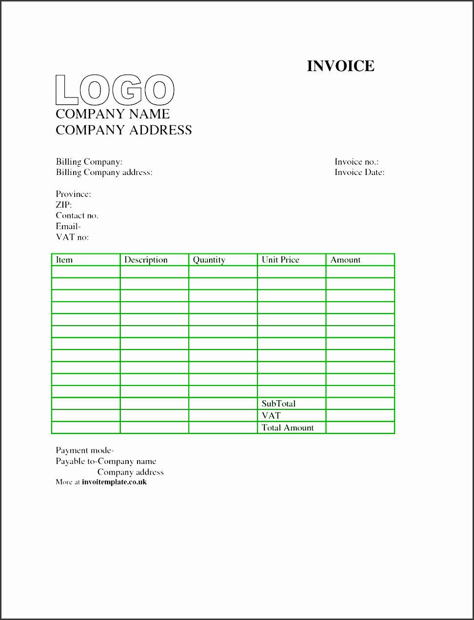 Receipt Template Google Docs Awesome 8 Blank Invoice Template In Excel Sampletemplatess