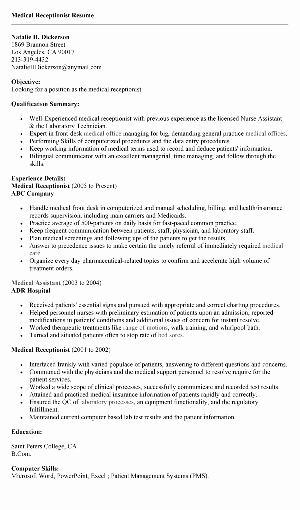 Receptionist Cover Letter No Experience Elegant Resume for Receptionist No Experience Resume Ideas
