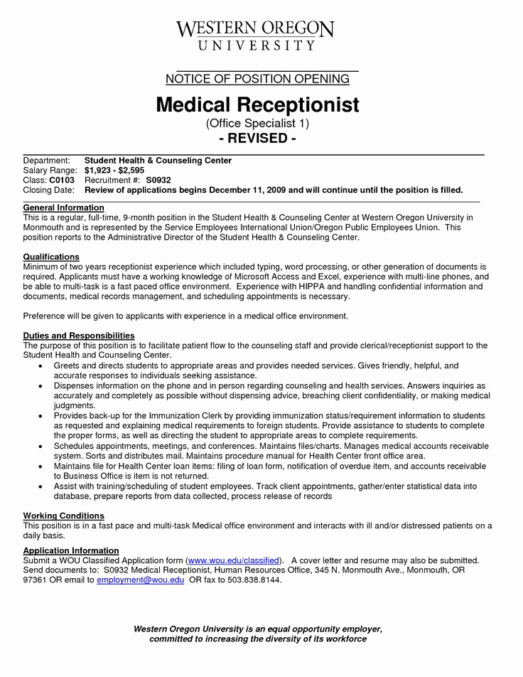 Receptionist Cover Letter No Experience Fresh Medical Receptionist Resume with No Experience