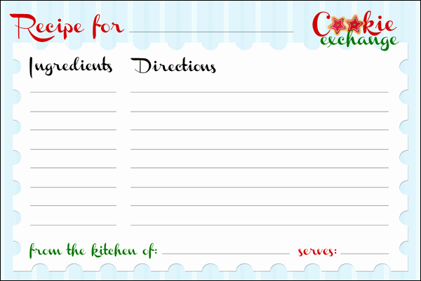 Recipe Card Templates for Word Best Of Cookie Exchange Party Free Printables How to Nest for