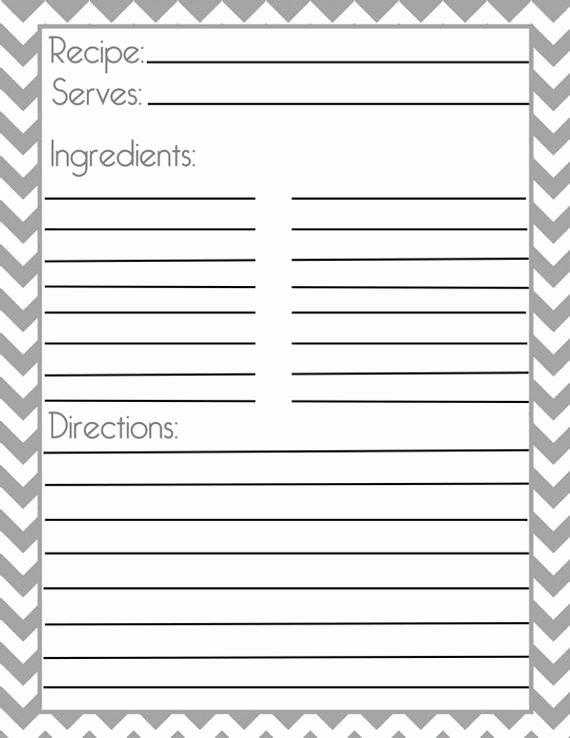 Recipe Card Templates for Word Fresh Chevron Gray Recipe Page and Filler Page