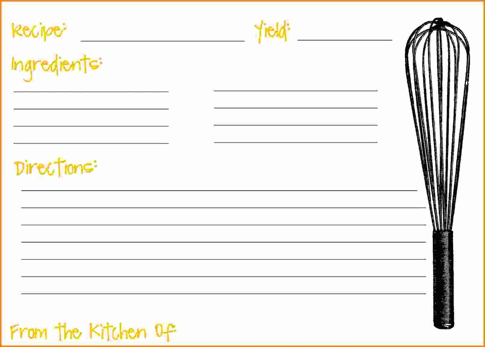 Recipe Card Templates for Word Luxury Free Recipe Templates to Fill In