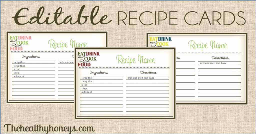 real food recipe cards diy editable