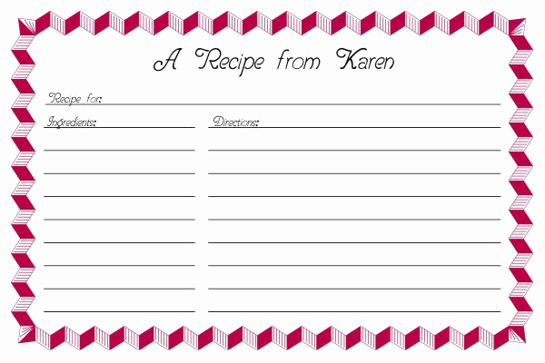 Recipe Card Templates for Word New Recipe Card Template 2