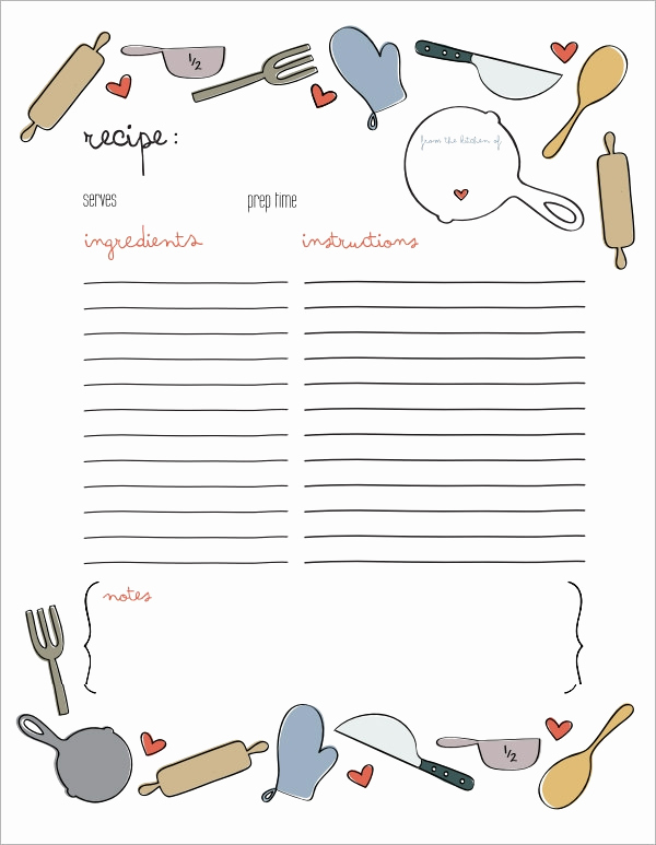 Recipe Card Templates for Word New Sample Recipe Card Template 6 Free Documents Download