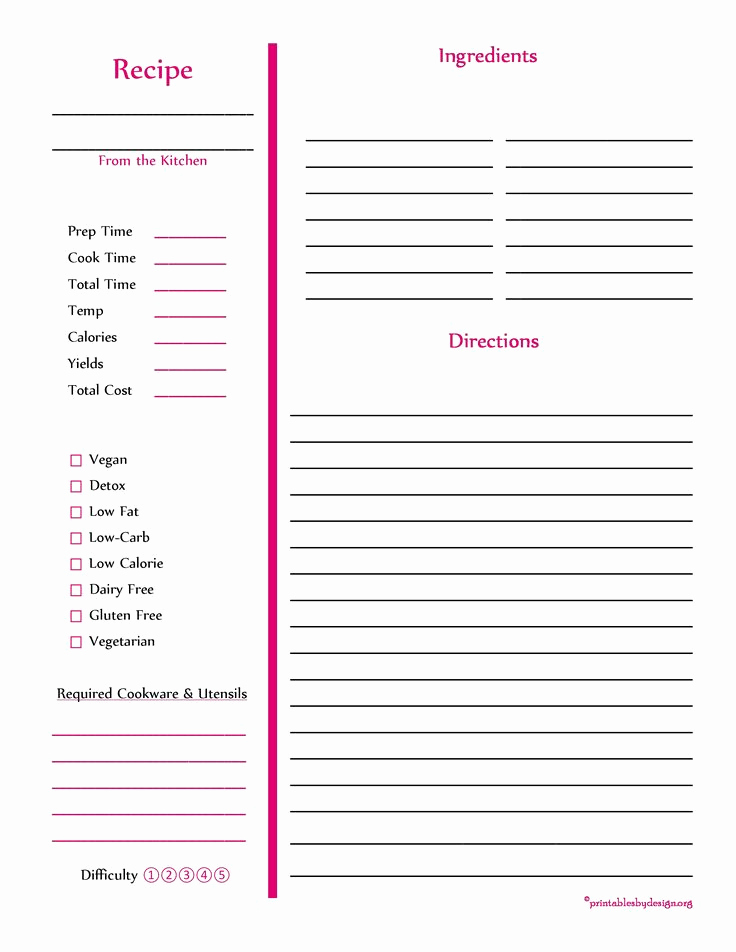 Recipe Template for Word Elegant 103 Best Free Recipe Cards Pages Images On Pinterest
