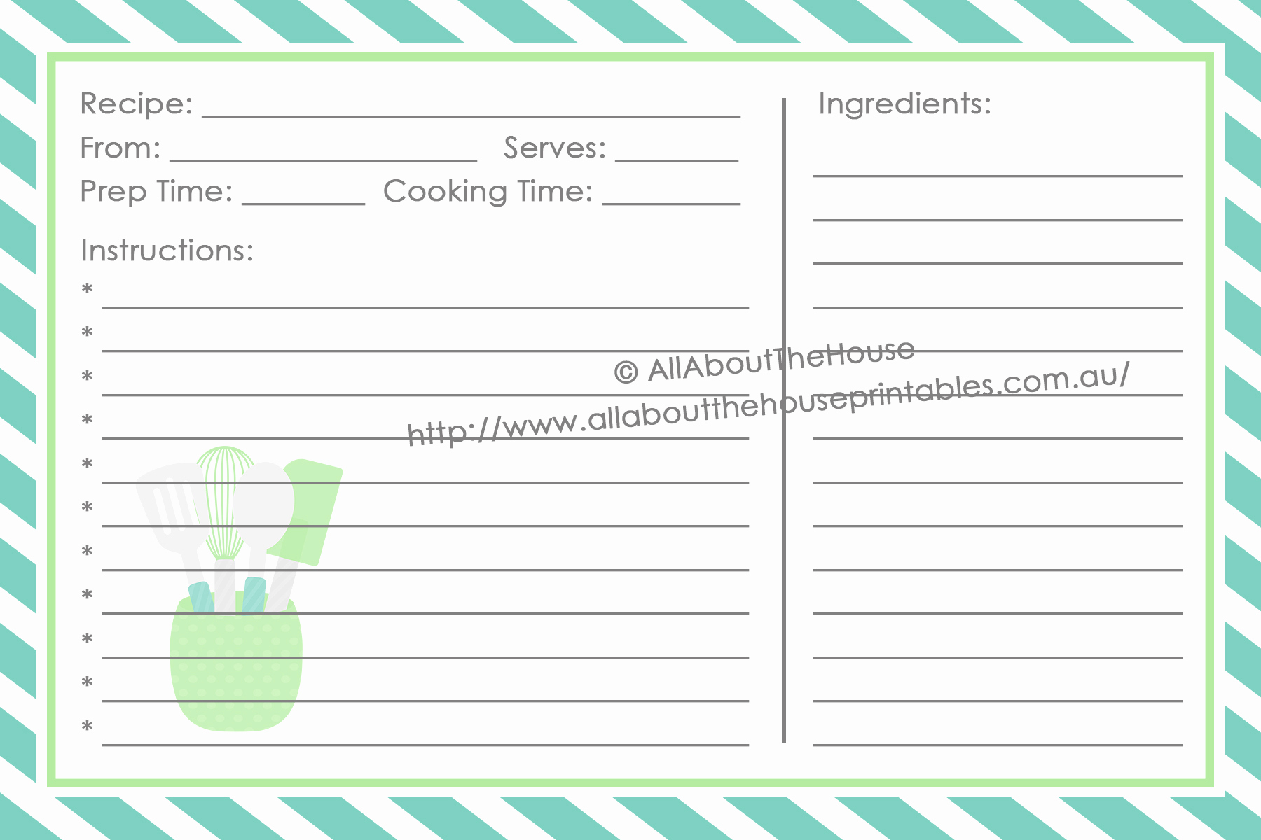 Recipe Template for Word Fresh Make Your Own Personalised Printable Recipe Binder
