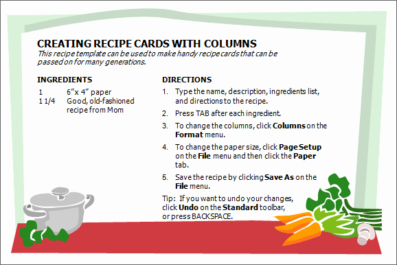 Recipe Template for Word Unique Creative Professional Cooking Recipe Card Template