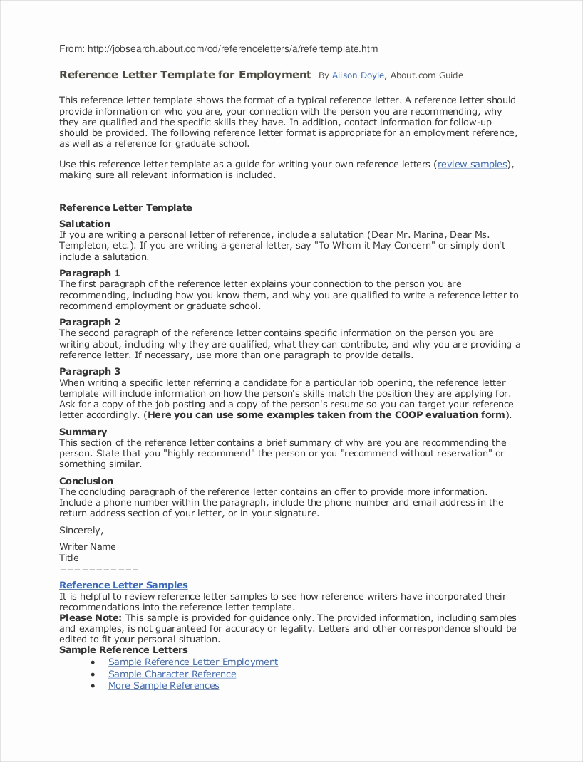 Recommendation Letter for A Job Awesome 9 Employee Reference Letter Examples & Samples In Pdf