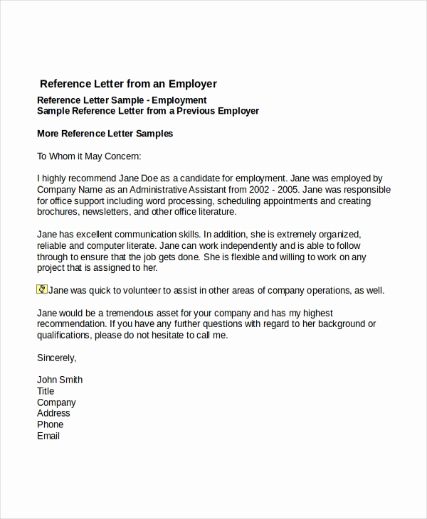 Recommendation Letter for A Job Elegant 7 Job Reference Letter Templates Free Sample Example