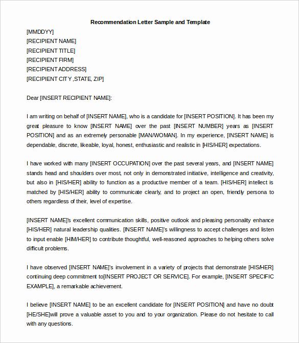 Recommendation Letter for A Job Fresh 30 Re Mendation Letter Templates Pdf Doc