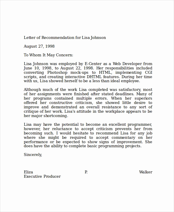 Recommendation Letter for A Job Lovely 19 Professional Reference Letter Template Free Sample