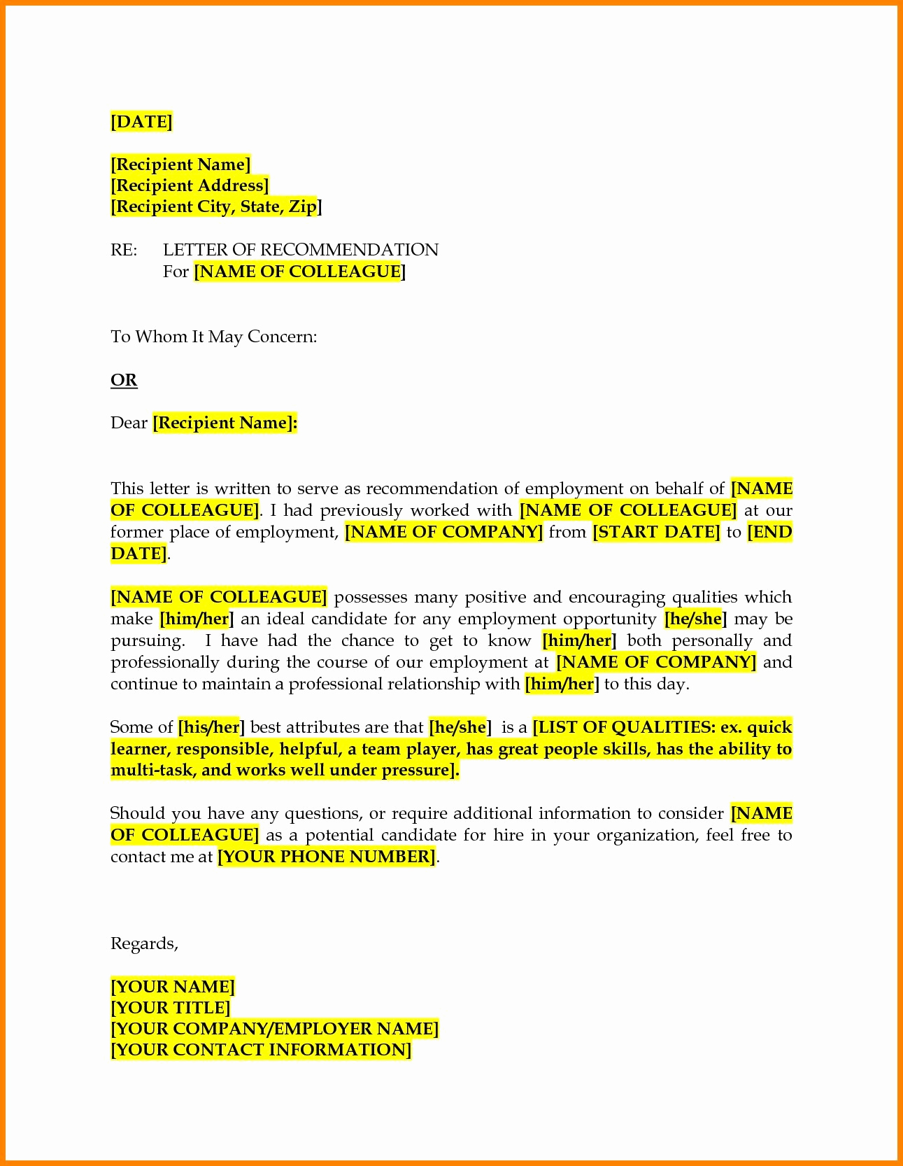 Recommendation Letter for Coworker Fresh Colleague Re Mendation Letter Barearsbackyard