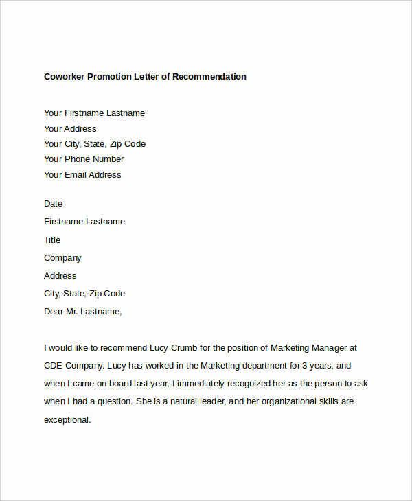 Recommendation Letter for Coworker Inspirational Coworker Re Mendation Letter 10 Free Word Pdf