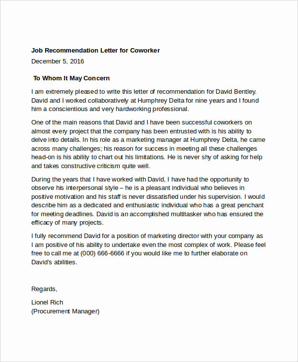 Recommendation Letter for Coworker Lovely Coworker Re Mendation Letter 10 Free Word Pdf