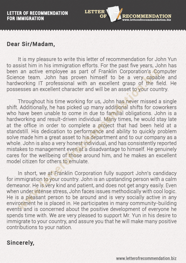 Recommendation Letter for Immigration Beautiful Immigration Letter Of Re Mendation