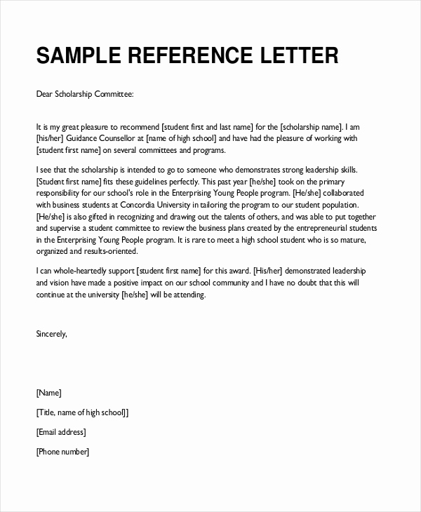 Recommendation Letter for Student Scholarship Awesome Sample Teacher Re Mendation Letter 8 Free Documents