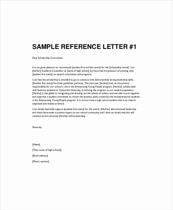 Recommendation Letter for Student Scholarship Beautiful Sample Re Mendation Letter for High School Student 9