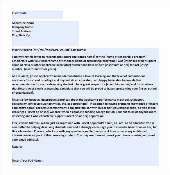 Recommendation Letter for Student Scholarship Best Of 6 Letters Of Re Mendation for Scholarship Word Excel