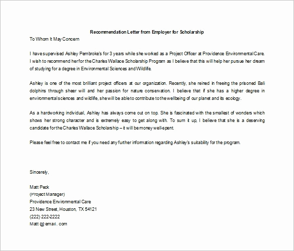Recommendation Letter for Student Scholarship New Free Re Mendation Letter for Scholarship From Employer