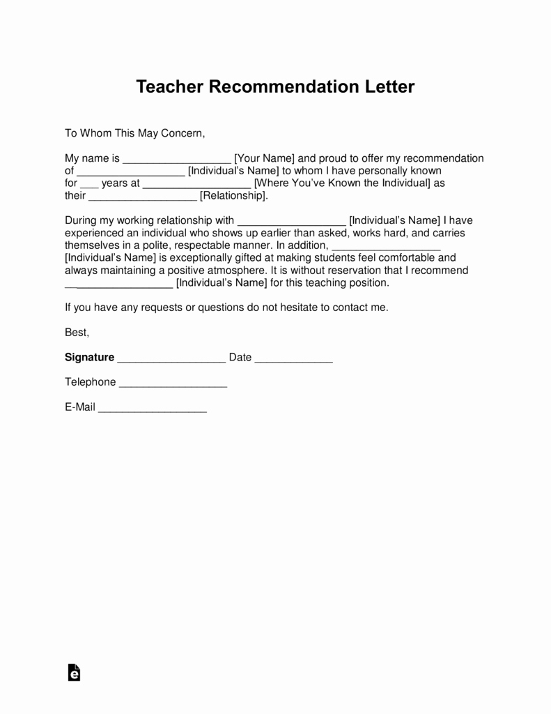 Recommendation Letter for Teacher Beautiful Free Teacher Re Mendation Letter Template with Samples