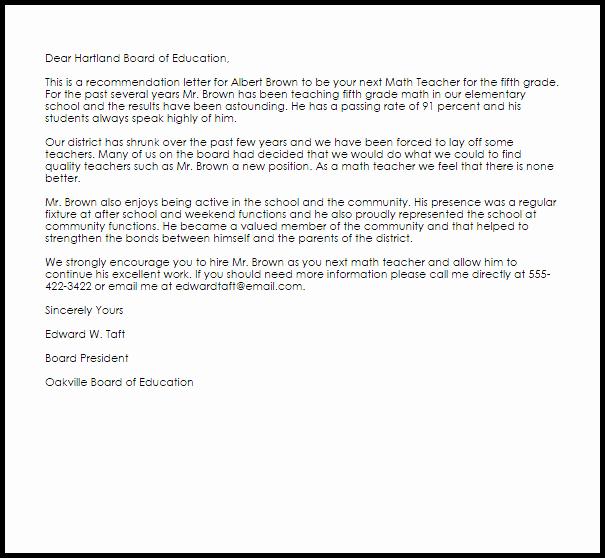 math teacher re mendation letter