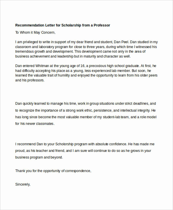 Recommendation Letter From Professor Awesome 40 Re Mendation Letter Templates In Pdf