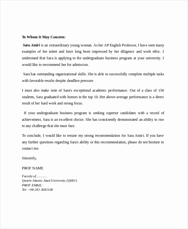 Recommendation Letter From Professor Lovely 8 Reference Letter for Teacher Templates Free Sample