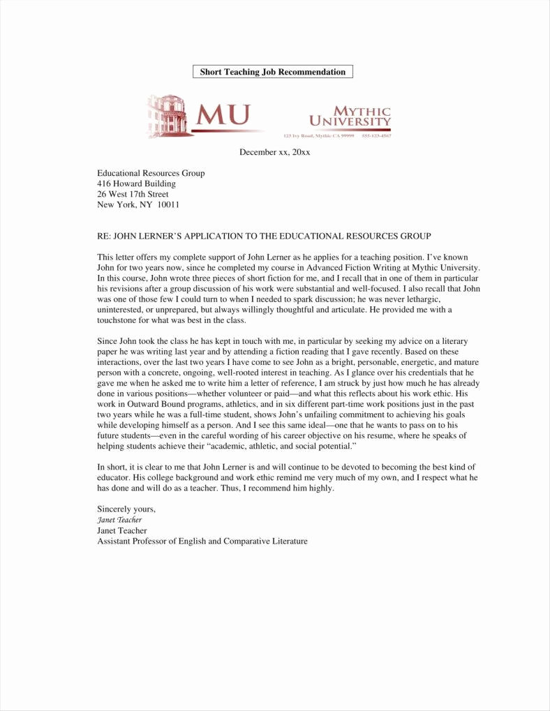 Recommendation Letter From Professor New 9 Teacher Promotion Letter Templates Free Pdf Doc