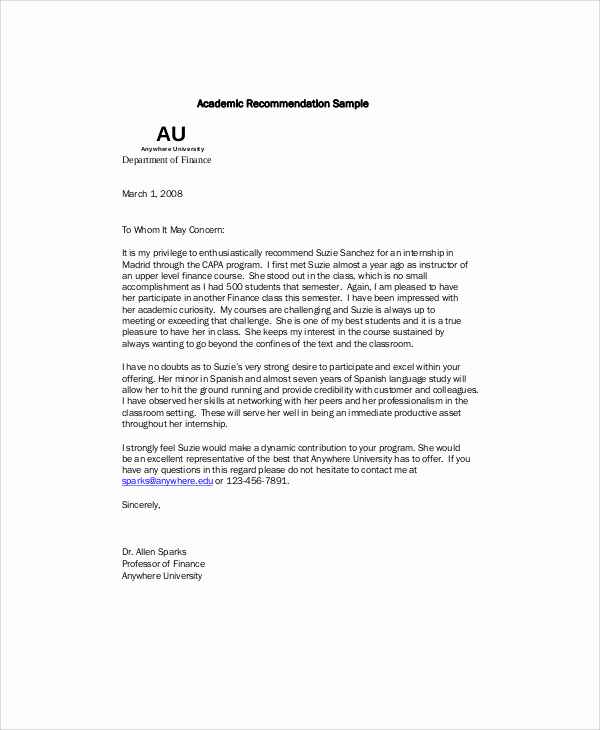 Recommendation Letter From Professor Unique 7 Sample Re Mendation Letter From Professor