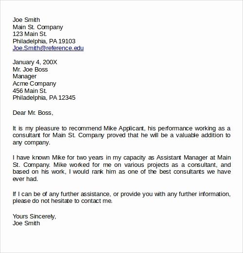 Recommendation Letter Template for Job Elegant 28 Letter Of Re Mendation In Word Samples