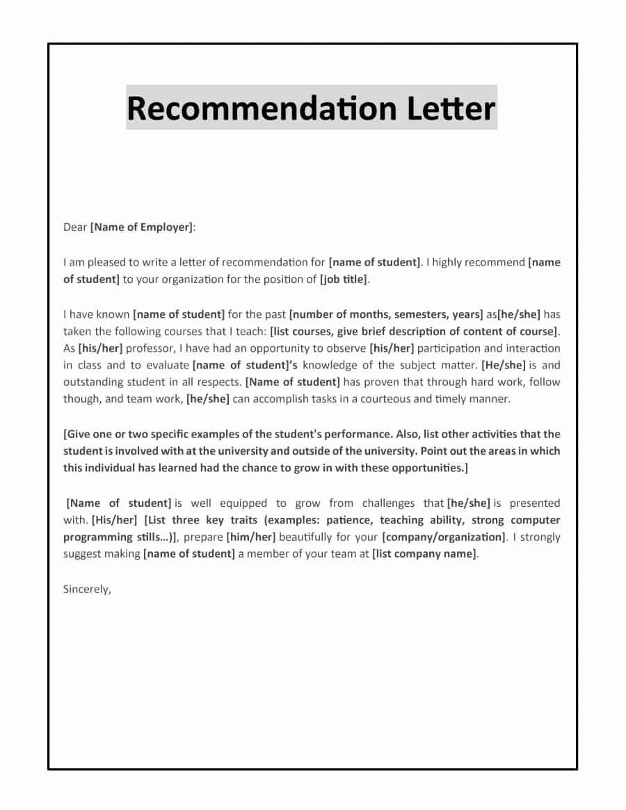 Recommendation Letter Template for Job Fresh 43 Free Letter Of Re Mendation Templates & Samples