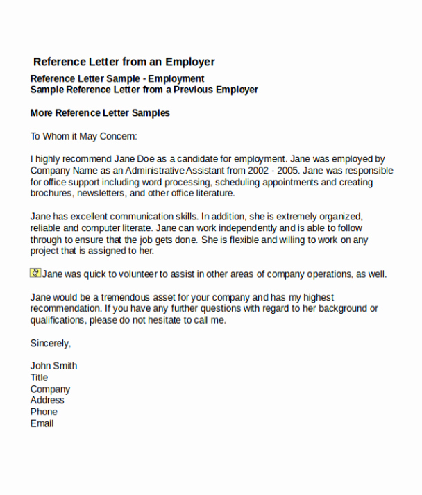 Recommendation Letter Template for Job Inspirational 4 Job Reference Letter Templates
