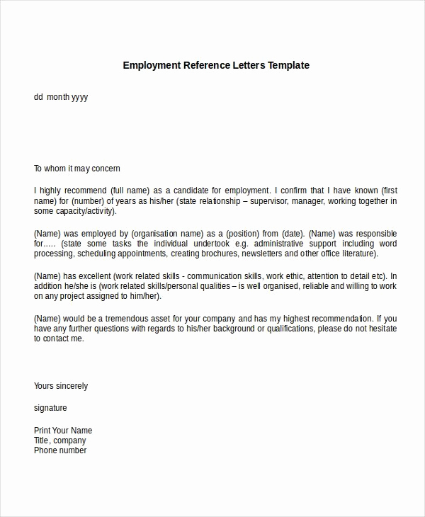 Recommendation Letter Template for Job New 10 Employment Reference Letter Templates Free Sample