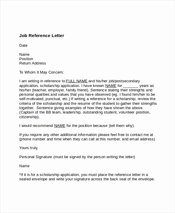 Recommendation Letter Template for Job New 7 Job Reference Letter Templates Free Sample Example
