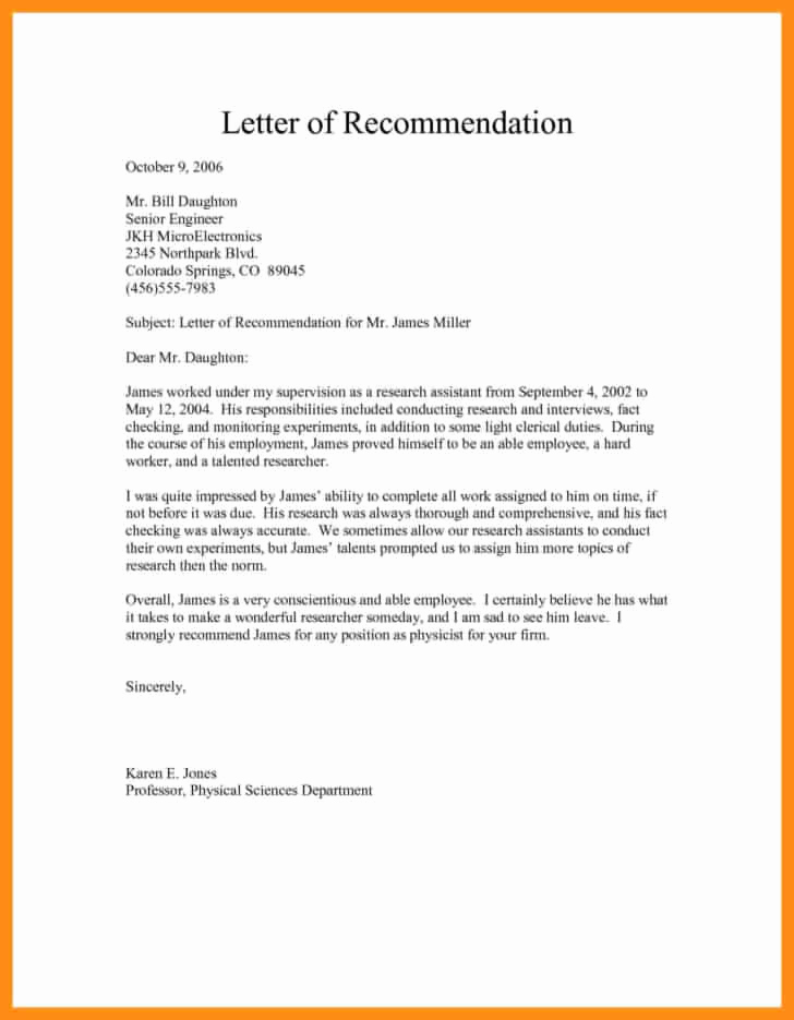 Recommendation Letter Template for Job New Free Sample Re Mendation Letter for Job Template