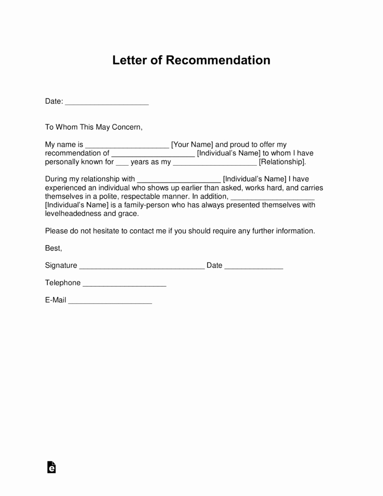 Reference Letter for A Job Fresh Free Letter Of Re Mendation Templates Samples and