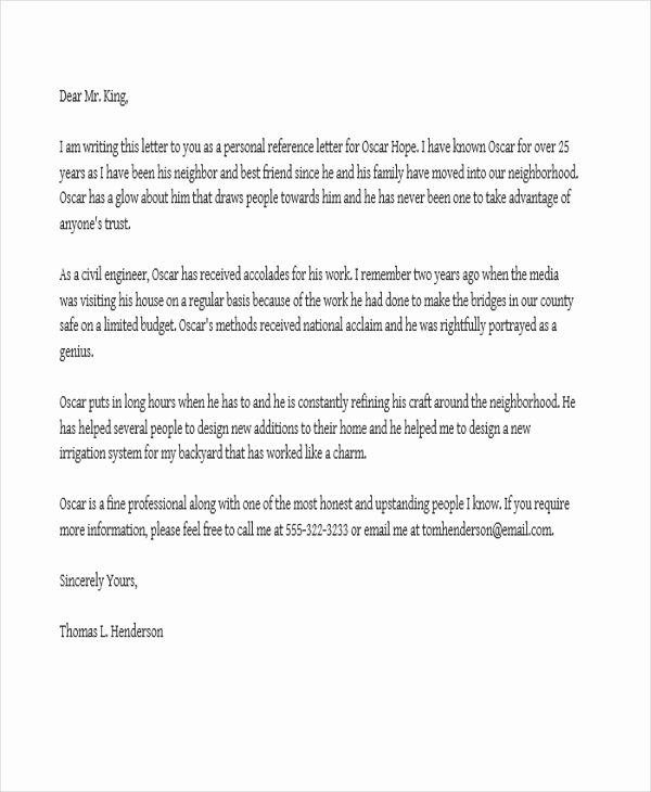 Reference Letter for A Job Fresh Job Reference Letter Templates 11 Free Word Pdf format