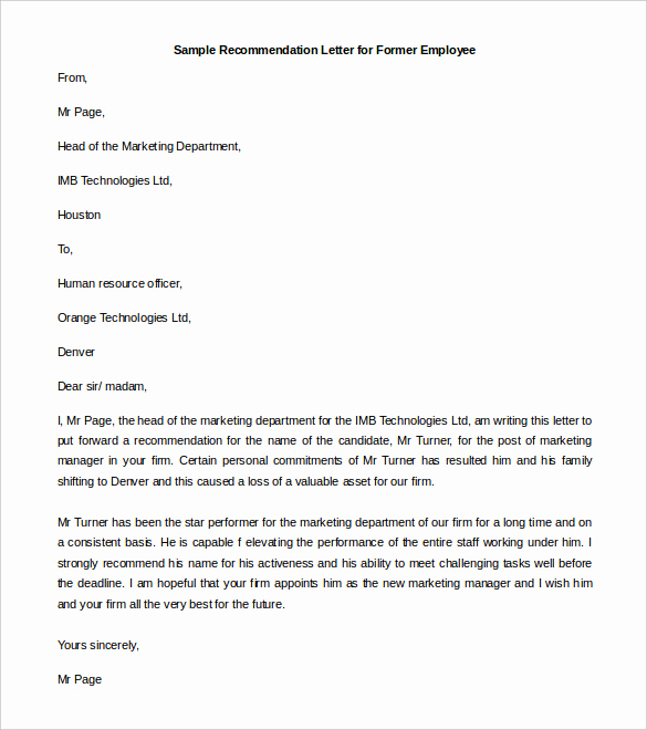 Reference Letter for Employees Beautiful 30 Re Mendation Letter Templates Pdf Doc