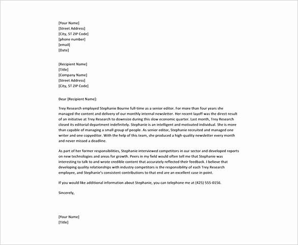 Reference Letter for Employees Lovely 28 Reference Letter Template – Free Sample Example