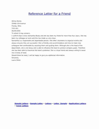 Reference Letter for Friend Unique 9 Personal Reference Letter Examples Pdf