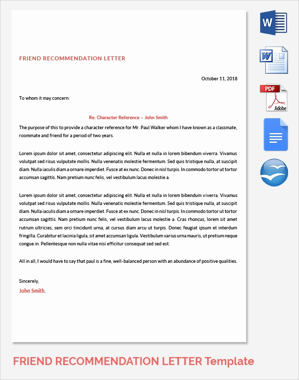 Reference Letter for Friend Unique Sample Reference Letters 17 Download Free Documents In