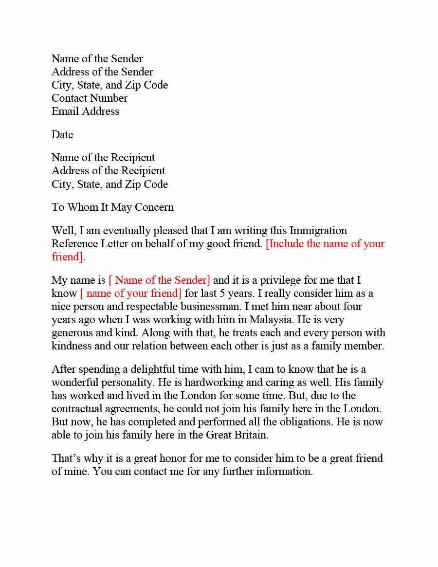 Reference Letter for Immigration Beautiful 36 Free Immigration Letters Character Reference Letters