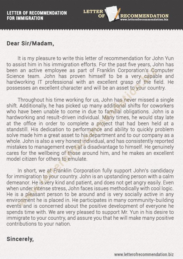 Reference Letter for Immigration Fresh Immigration Letter Of Re Mendation