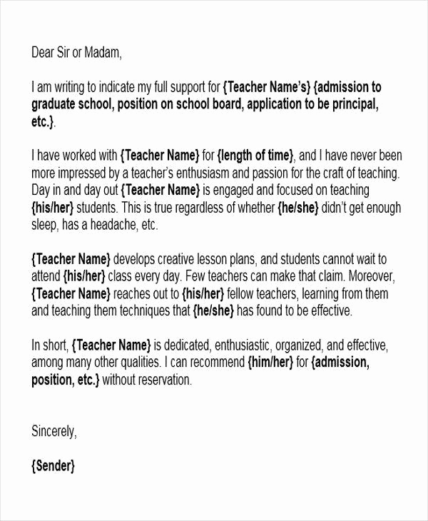 Reference Letter for Teachers Beautiful 6 Reference Letter for Teachers Free Sample Example
